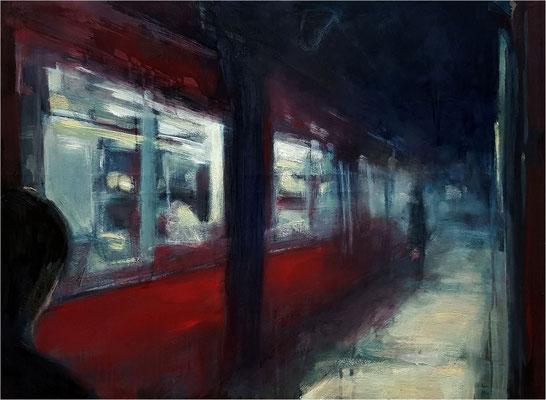 Nachtzug, Öl auf Leinwand, 2018, 84 x 64 cm