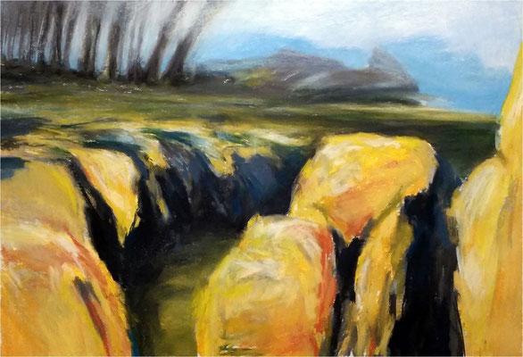 Landschaft, Kreide auf Papier, 2016, 70 x 50 cm