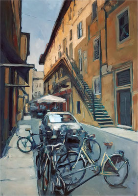 Via Mazzanti - Verona, Öl auf Leinwand, 2019, 70 x 100 cm