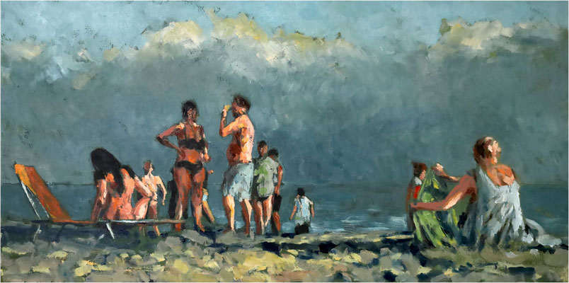 Vor der Wand, Öl auf Leinwand, 2021, 100 x 50 cm