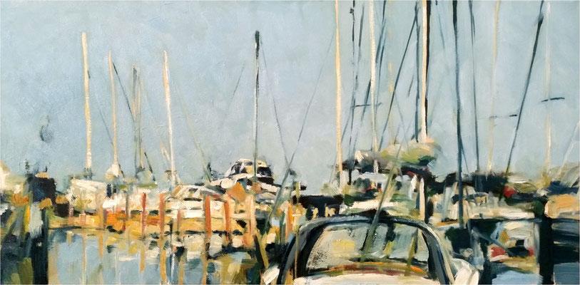 Yachthafen, Öl auf Leinwand, 2018, 100 x 50 cm