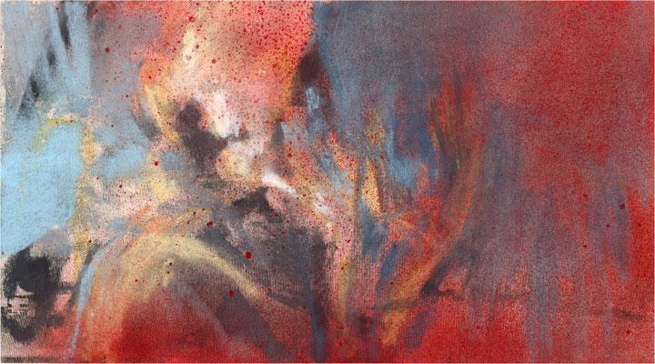Blackfield Remix XXIV, Kreide und Acryl auf Papier, 2017, 25 x 14 cm