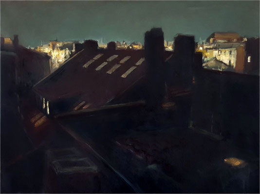 Nacht auf dem Dach, Öl auf Leinwand, 2019, 80 x 60 cm