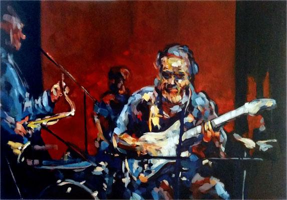 Jazz mit Ike, Öl auf Leinwand, 2017, 100 x 70 cm