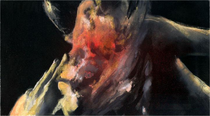 Blackfield Remix XXV, Kreide und Acryl auf Papier, 2017, 25 x 14 cm