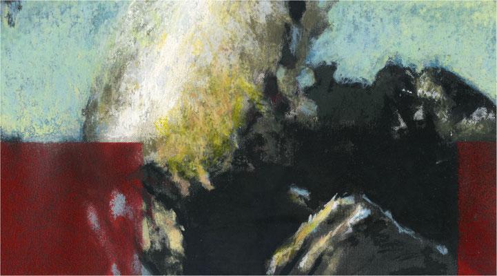 Blackfield Remix VII, Kreide und Acryl auf Papier, 2017, 25 x 14 cm