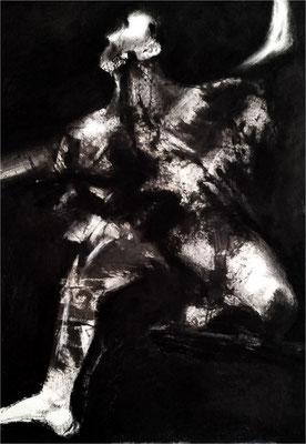 Selfie, Monotypie und Kreide auf Papier, 2016, 70 x 100 cm, Privatbesitz