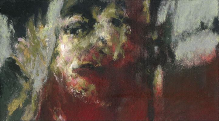 Blackfield Remix XIV, Kreide und Acryl auf Papier, 2017, 25 x 14 cm