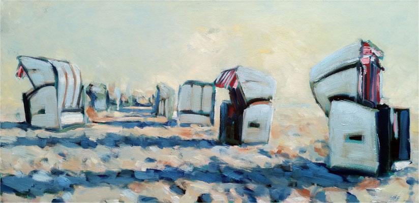 Reihenhäuser 2, Öl auf Leinwand, 2018, 100 x 50 cm