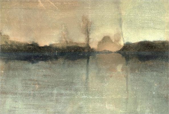 der baum, die insel und der see, 2001, 11-Farb, 53 x 40 cm, Unikat