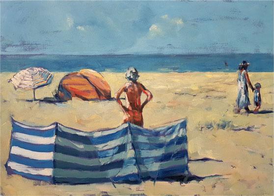 Strandwächter:in, Öl auf Leinwand, 2020, 70 x 50 cm