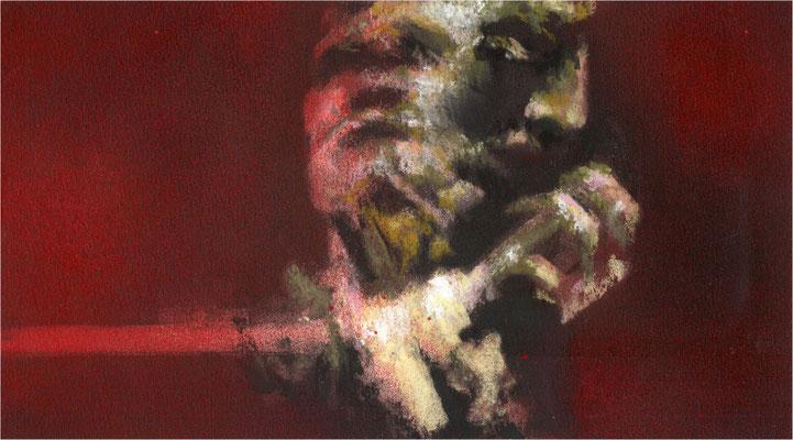 Blackfield Remix XXI, Kreide und Acryl auf Papier, 2017, 25 x 14 cm
