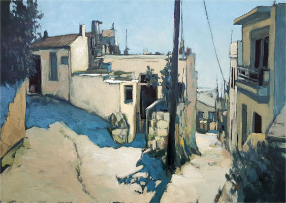 Dorfstraße auf Kreta, Öl auf Leinwand, 2020, 70 x 50 cm