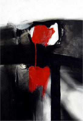 Zu weit mein Herz, Kreide und Tempera auf Papier, 2005, 70 x 100 cm