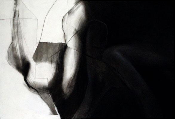 Mit jedem Tag mehr, Collage und Kreide auf Papier, 2005, 100 x 70 cm