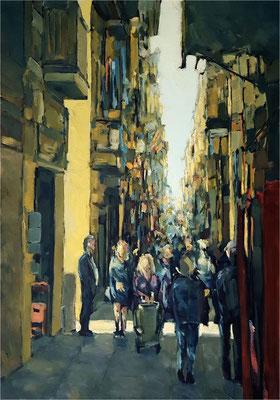 Barcelona, Öl auf Leinwand, 2019, 70 x 100 cm