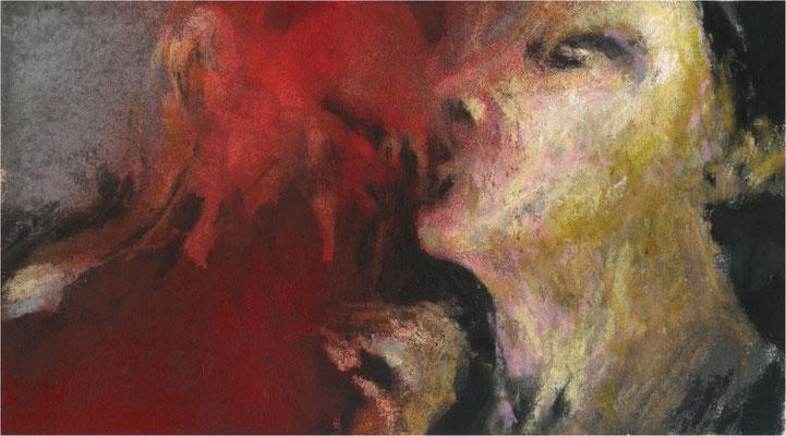 Blackfield Remix II, Kreide und Acryl auf Papier, 2017, 25 x 14 cm