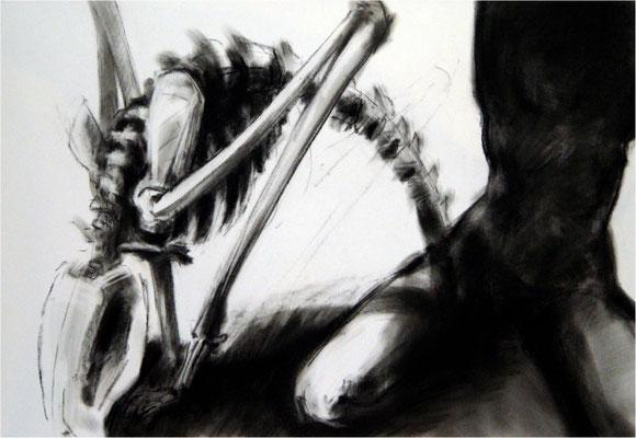 Der Tod und das Mädchen, Kreide auf Papier, 2005, 100 x 70 cm