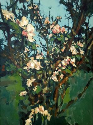 Homeoffice im Apfelbaum, Öl auf Leinwand, 2020, 60 x 80 cm