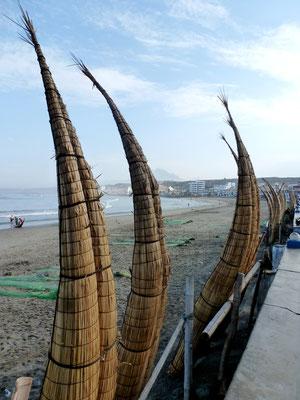Handmade reed canoes