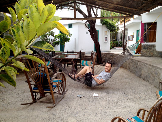 Relaxing at our hostel