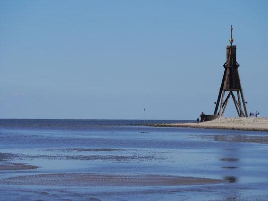 Die Kugelbake vor Cuxhaven bei Ebbe