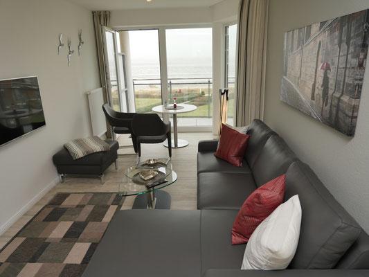 Der Meerblick aus der Küche und dem Wohn- und Essbereich der Ferienwohnung
