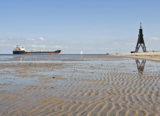 Tolles Panorama, die Kugelbake vor Cuxhaven