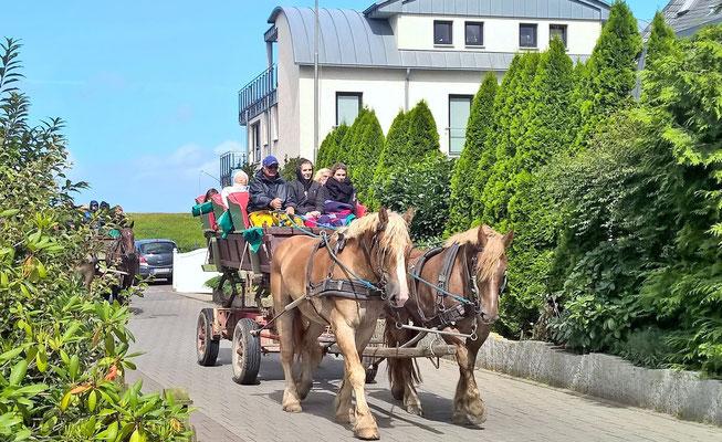 Auch Wattwagen fahren an der Ferienwohnung gelegentlich vorbei.