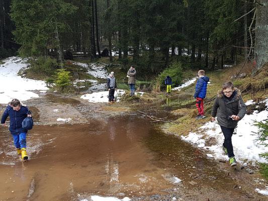Schüler umlaufen eine große Pfütze im Wald