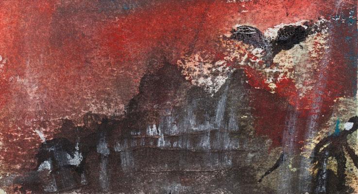 L'oiseau de Minerve (acrylique sur papier 5 x 10 cm)
