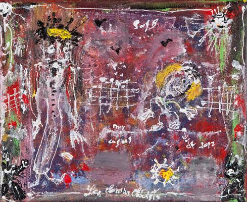 Les clowns christs (acrylique sur toile 24 x 30 cm)