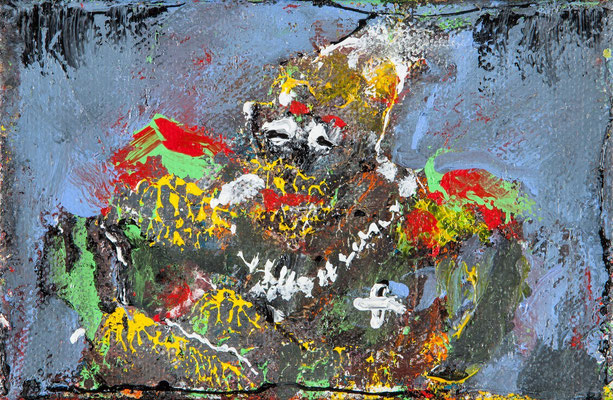 Hilare se marre (acrylique sur toile 12 x 18 cm)