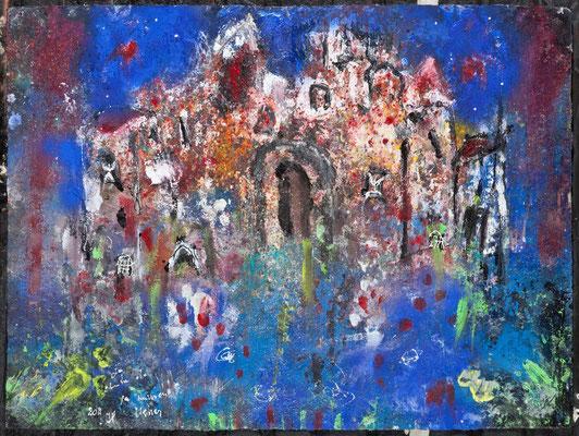 La chute de la Maison Usher  (acrylique sur papier 76 x 56 cm)