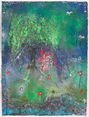 La Maison Rouge (acrylique sur papier 56 x 76 cm)