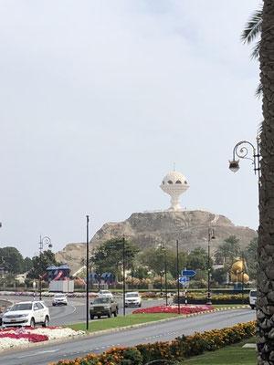 The giant incense burner monument at Al-Riyam Park in Muscat, Oman