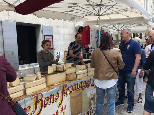 The big Saturday market in the old town of Uzes, Provence (South of France)