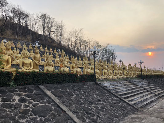 Hundreds of Buddhas & Sunset in Pakse, Laos