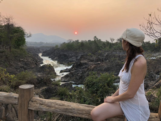Irene & sunset at the Waterfall on Don Khon