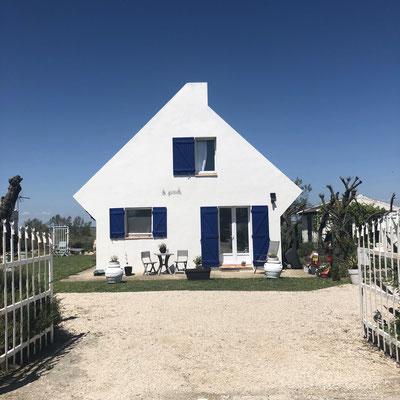 Beautiful beach houses in Saint-Maries-de-la-Mer, Provence (South of France)
