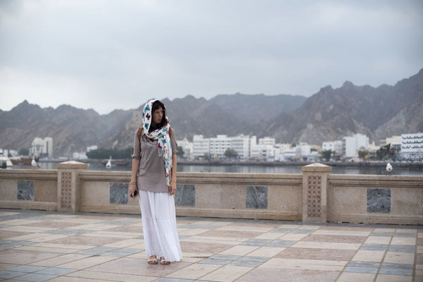 Irene decided to cover her head walking in Muscat, Oman