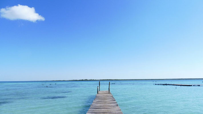 "A lonely pier at lake Bacalar, as well called ""The lake of the seven colours"""