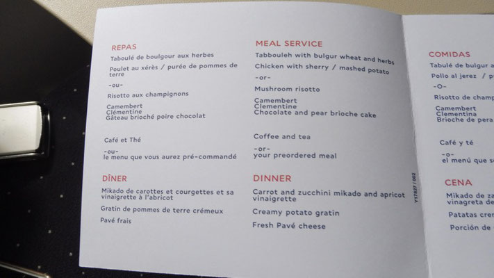 The AirFrance Economy Menu