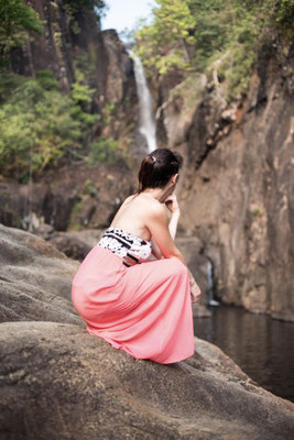Irene at a waterfall in Koh Chang, Thailand