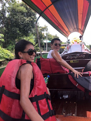 On a long tail boat with my friends Ramina and Mihaela in Bangkok, Thailand