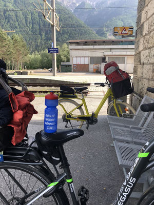 Our e-bikes waiting at Dellach for the train to arrive