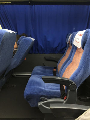 the almost empty bus from San Cristobal to Campeche