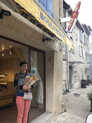 Mission accomplished: got fresh baguettes for our breakfast in a small village called Arpaillargues in Provence, South of France