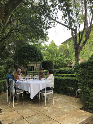 The travel gang for lunch at a medieval hotel & restaurant in Arpaillargues, Provence (South of France)