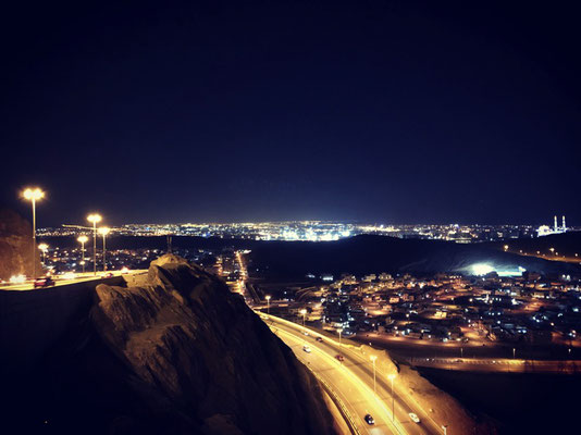 View from driving back into Muscat by night.